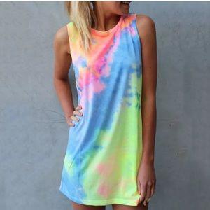 BRAND NEW RAINBOW TIE DYE MINI DRESS!!🌈🌈🌈🌈🌈🌈